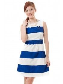 Color Block Blue Striped Dress