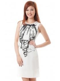 Feminine Velvet Applique Dress