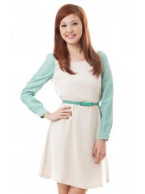 Striped Sleeved Belted Dress