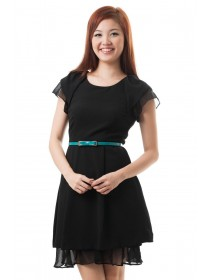 Crepe Ruffled Sleeves Dress (Black)
