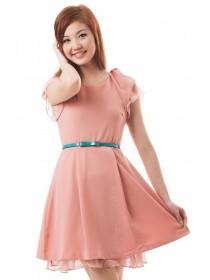 Crepe Ruffled Sleeves Dress