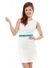Pristine White Belted Dress
