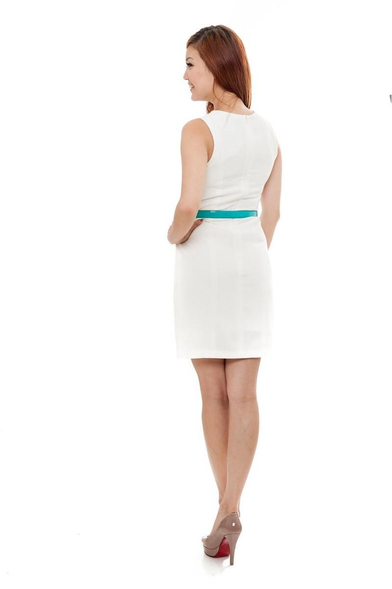 pristine white belted dress divalavie dresses office