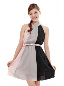 Halter Color Block Dress