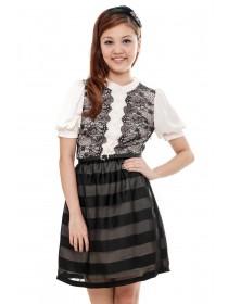 Lace Applique Silk Blend Dress