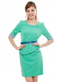Polka Dots Sleeved Peplum Dress (Green)