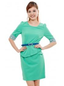Polka Dots Sleeved Peplum Dress (Green)
