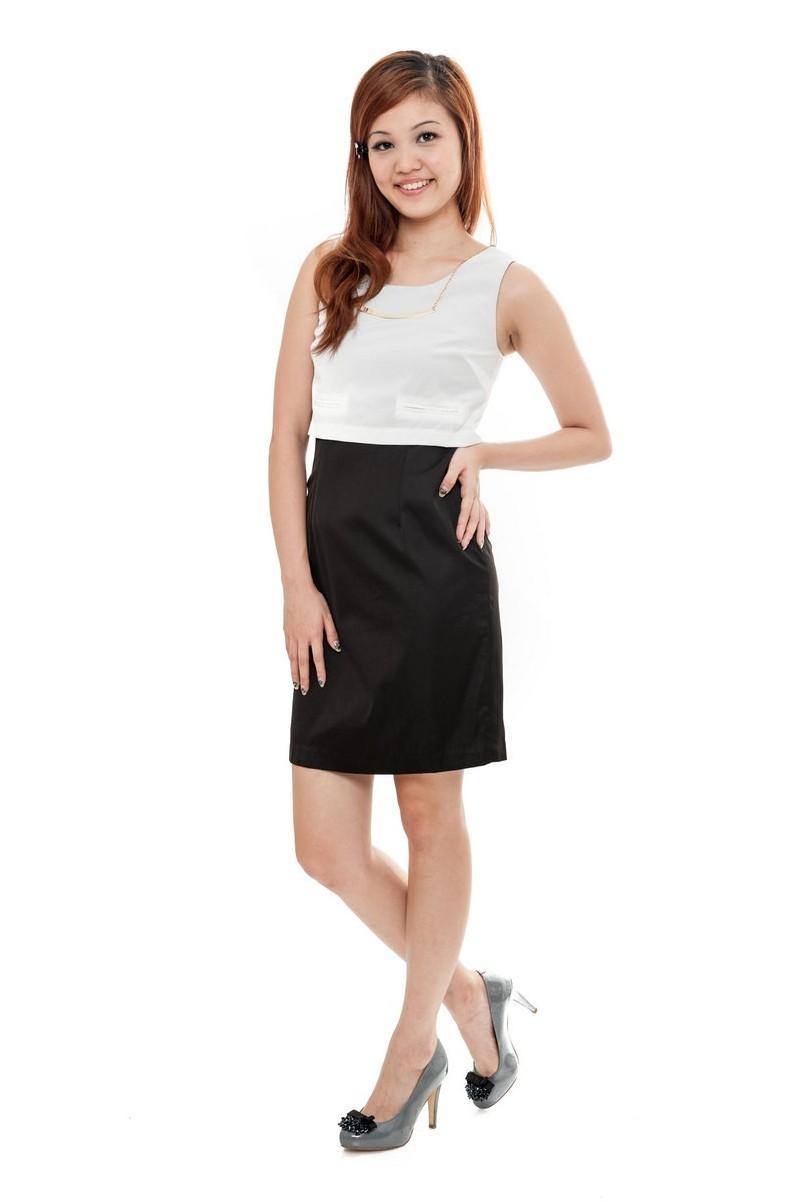 Black dress korean - Korean Inspired Layered Dress Black