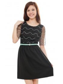 Christine Mesh Sleeved Dress