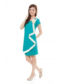 Teal Flouncing Ruffles Dress