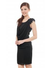 Floral Sleeves Chiffon Draped Dress (Black)